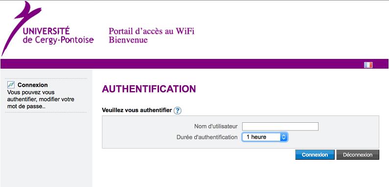 Ecran de connexion au portail wifi